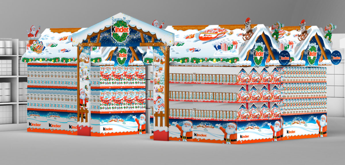 PLV Kinder Marché de Noël hypermarchés et supermarchés