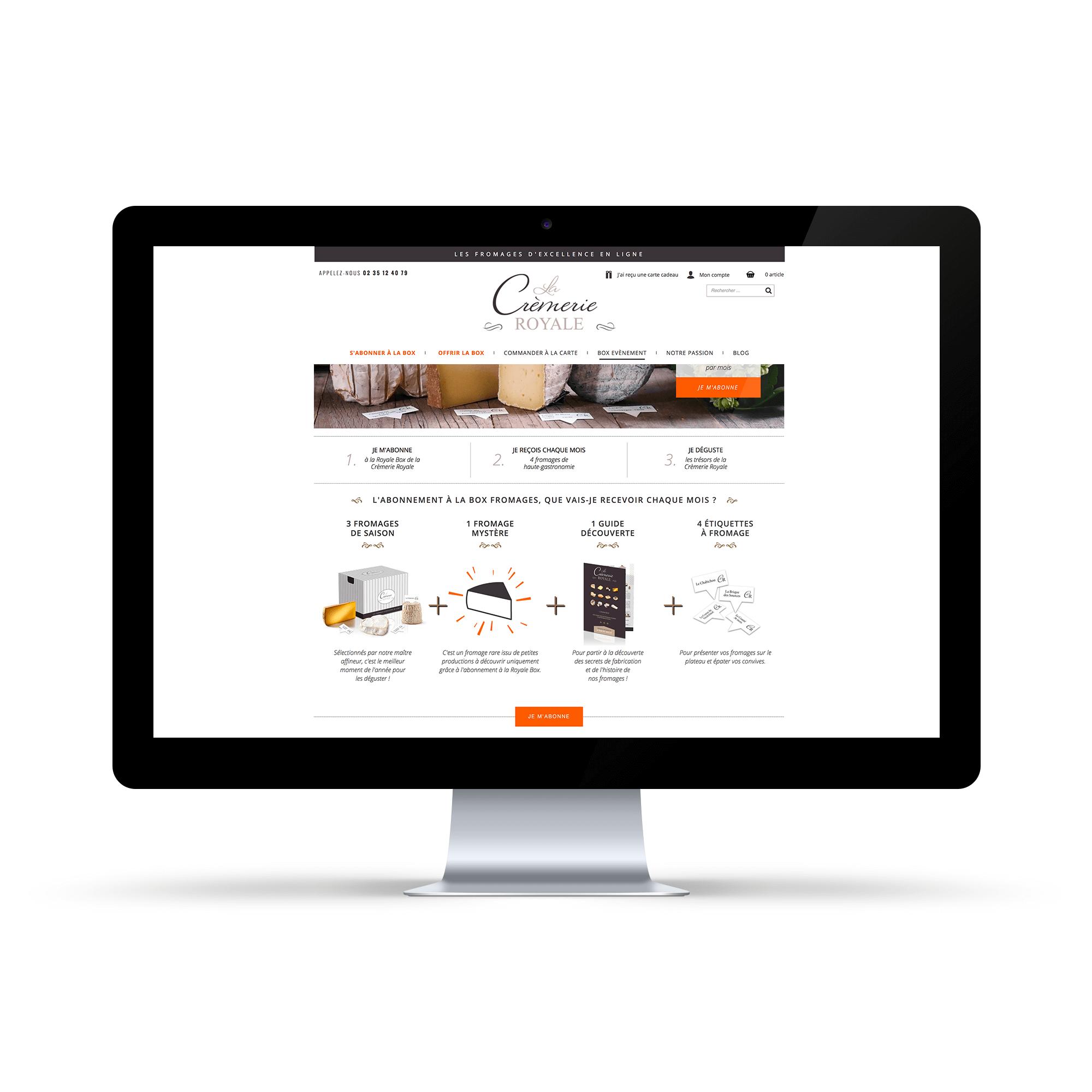 Site internet La Crèmerie Royale - Page abonnement