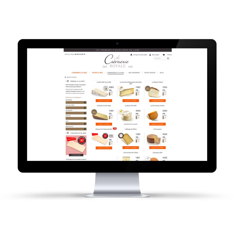 Site internet La Crèmerie Royale - Page fromages