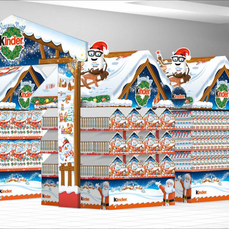 PLV Ferrero Marché de Noël hypermarchés et supermarchés