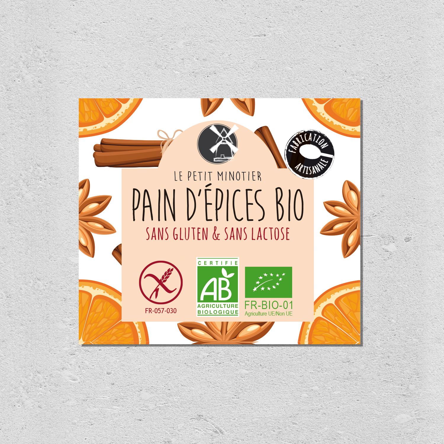 design packaging pain d'épices bio le petit minotier